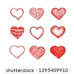 heart symbol with sunburst hand ... | Shutterstock . vector #1395409910