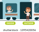 little boy on the train and... | Shutterstock .eps vector #1395420056