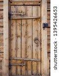 Wood Old Door With Round Metal...