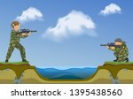 paintball players shooting in...   Shutterstock .eps vector #1395438560