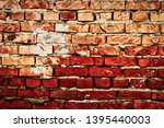 Worn Weathered Red Brick Wall...