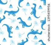 funny hand drawn dinosaurs.... | Shutterstock .eps vector #1395459956