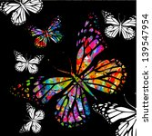 Flying Butterflies On A Black...