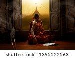 Novice Buddhist Monk Inside A...