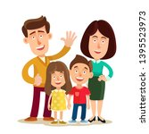 traditional family. happy young ... | Shutterstock .eps vector #1395523973