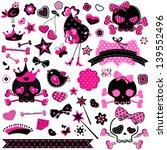 large set of wild girlish cute...   Shutterstock .eps vector #139552496