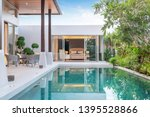 Small photo of home or house building Exterior and interior design showing tropical pool villa with green garden and bedroom