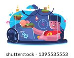 game modeler working at project ... | Shutterstock .eps vector #1395535553
