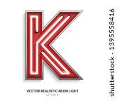 red neon colorful on font k.... | Shutterstock .eps vector #1395558416