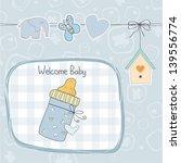 baby boy shower card with milk... | Shutterstock .eps vector #139556774