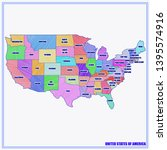 map of usa with regions and...   Shutterstock . vector #1395574916