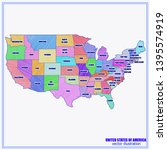 map of usa with regions and...   Shutterstock .eps vector #1395574919