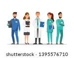 set of doctor and nurse cartoon ... | Shutterstock .eps vector #1395576710