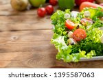 mix salad and healthy. fresh... | Shutterstock . vector #1395587063