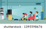 children and friends play video ... | Shutterstock .eps vector #1395598676