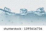 translucent gray ice cubes and... | Shutterstock .eps vector #1395616736