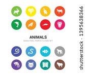 16 animals vector icons set... | Shutterstock .eps vector #1395638366