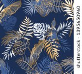 seamless pattern with exotic... | Shutterstock .eps vector #1395650960