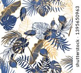 seamless pattern with exotic... | Shutterstock .eps vector #1395650963