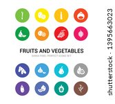 16 fruits and vegetables vector ... | Shutterstock .eps vector #1395663023