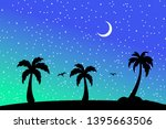 tropical beach and palm trees...   Shutterstock .eps vector #1395663506