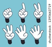 hand numbers. cartoon hands... | Shutterstock .eps vector #1395663719