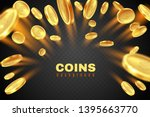 gold coin explosion. golden... | Shutterstock .eps vector #1395663770