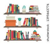 flat bookshelves. shelf book in ... | Shutterstock .eps vector #1395663776
