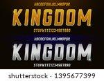silver and golden font. metal... | Shutterstock .eps vector #1395677399