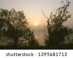 foggy morning. dawn outside the ... | Shutterstock . vector #1395681713