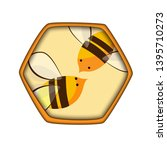 honey comb icon with bees.... | Shutterstock .eps vector #1395710273