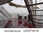 Deck Of A Ship In The Rain In...