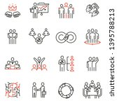 vector set of 16 linear quality ... | Shutterstock .eps vector #1395788213