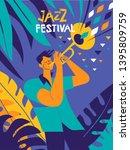 jazz festival poster. trumpet... | Shutterstock .eps vector #1395809759