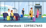 people at airport terminal flat ... | Shutterstock .eps vector #1395817643