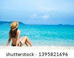 happy young woman in bikini... | Shutterstock . vector #1395821696