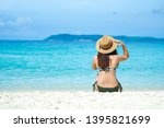 happy young woman in bikini... | Shutterstock . vector #1395821699