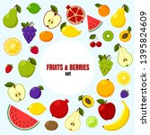 fruits and berries big set | Shutterstock .eps vector #1395824609