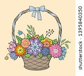 basket of flowers with handle... | Shutterstock .eps vector #1395840350