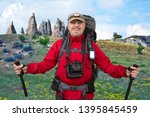 happy bearded tourist with... | Shutterstock . vector #1395845459