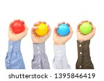 men's hands with colorful... | Shutterstock . vector #1395846419