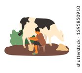 young woman farmer milking cow. ... | Shutterstock .eps vector #1395850910