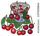 juice  berries  cherries hand... | Shutterstock .eps vector #1395858866