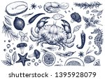 seafood and spices vector set.... | Shutterstock .eps vector #1395928079