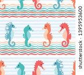 Cute Seahorses Cartoon...