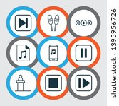 multimedia icons set with drum...   Shutterstock . vector #1395956726