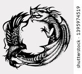 hand drawn black enso zen... | Shutterstock .eps vector #1395974519