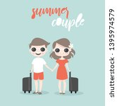 cute couple traveling together... | Shutterstock .eps vector #1395974579