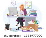 exhausted overwhelmed by work... | Shutterstock .eps vector #1395977000