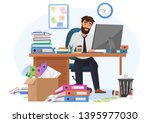tired sleepy male office worker ... | Shutterstock .eps vector #1395977030